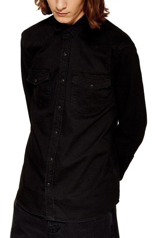 Men's Topman Smith Western Shirt, Size Medium - Black