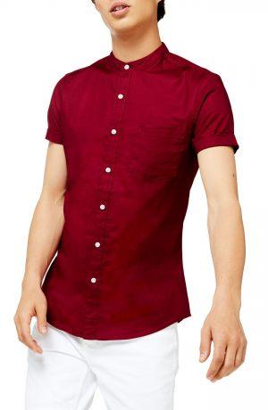 Men's Topman Stand Collar Skinny Short Sleeve Button-Up Shirt, Size X-Small - Burgundy