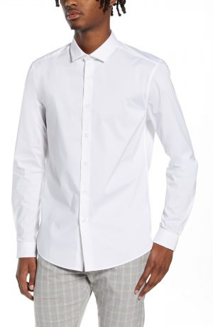 Men's Topman Stretch Form Flow White Button-Up Shirt, Size Large - White