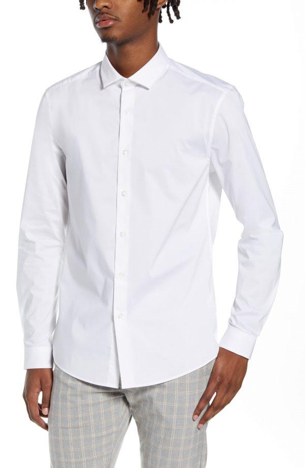 Men's Topman Stretch Form Flow White Button-Up Shirt, Size Large - White