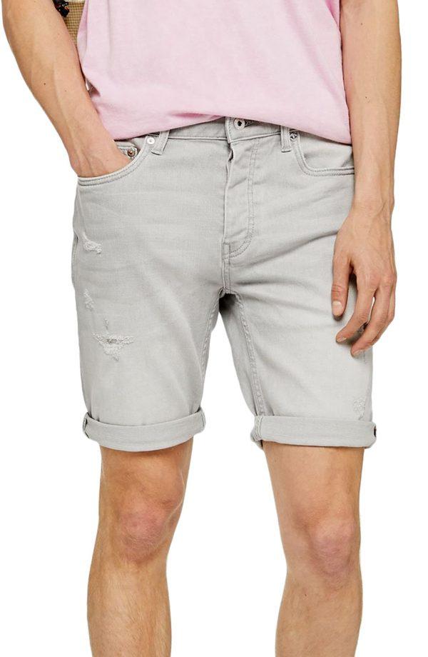 Men's Topman Stretch Skinny Ripped Shorts, Size 28 - Grey
