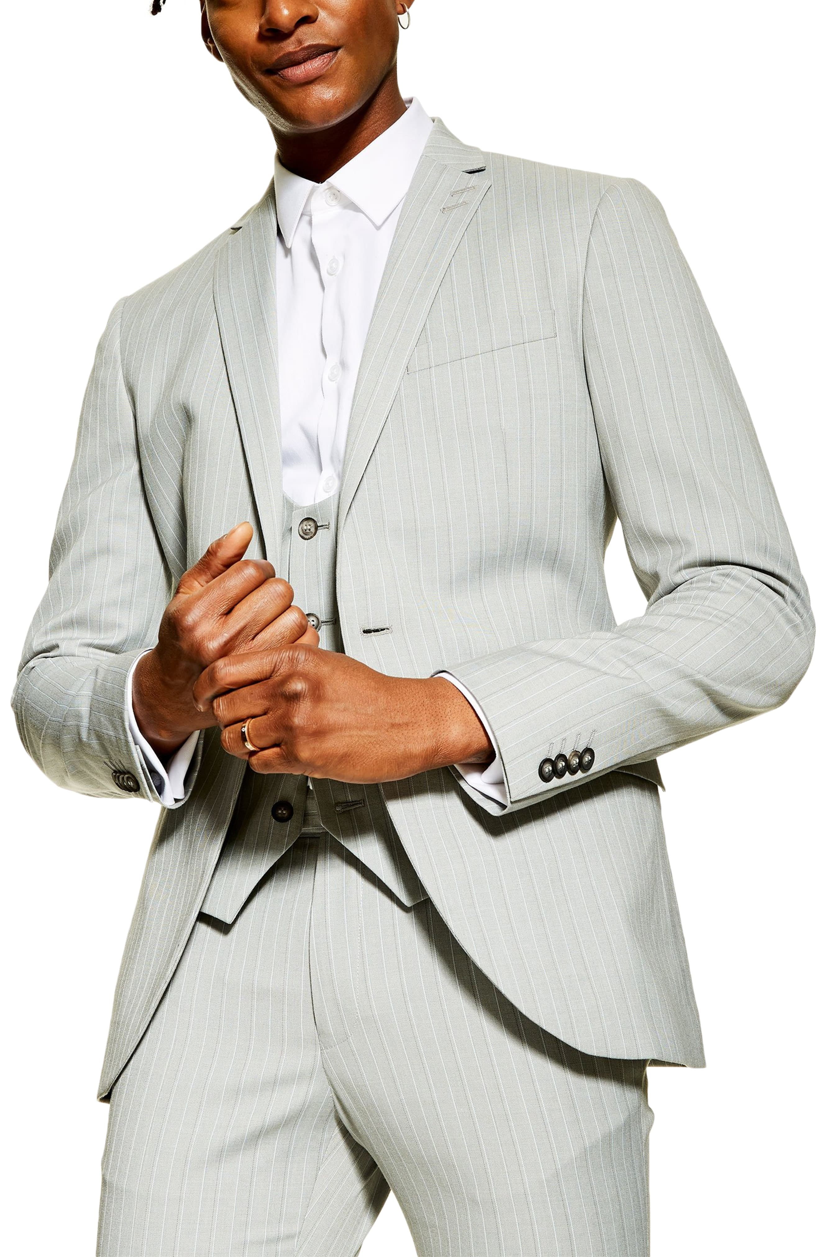 Men\u0027s Topman Super Skinny Fit Pinstripe Suit Jacket, Size 34R , Grey