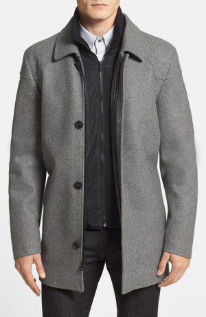 Men's Vince Camuto Melton Car Coat With Removable Bib, Size X-Large - Grey
