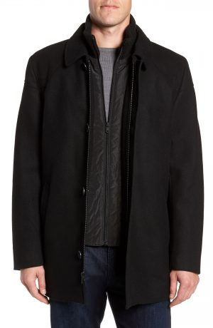 Men's Vince Camuto Melton Car Coat With Removable Bib, Size XX-Large - Black