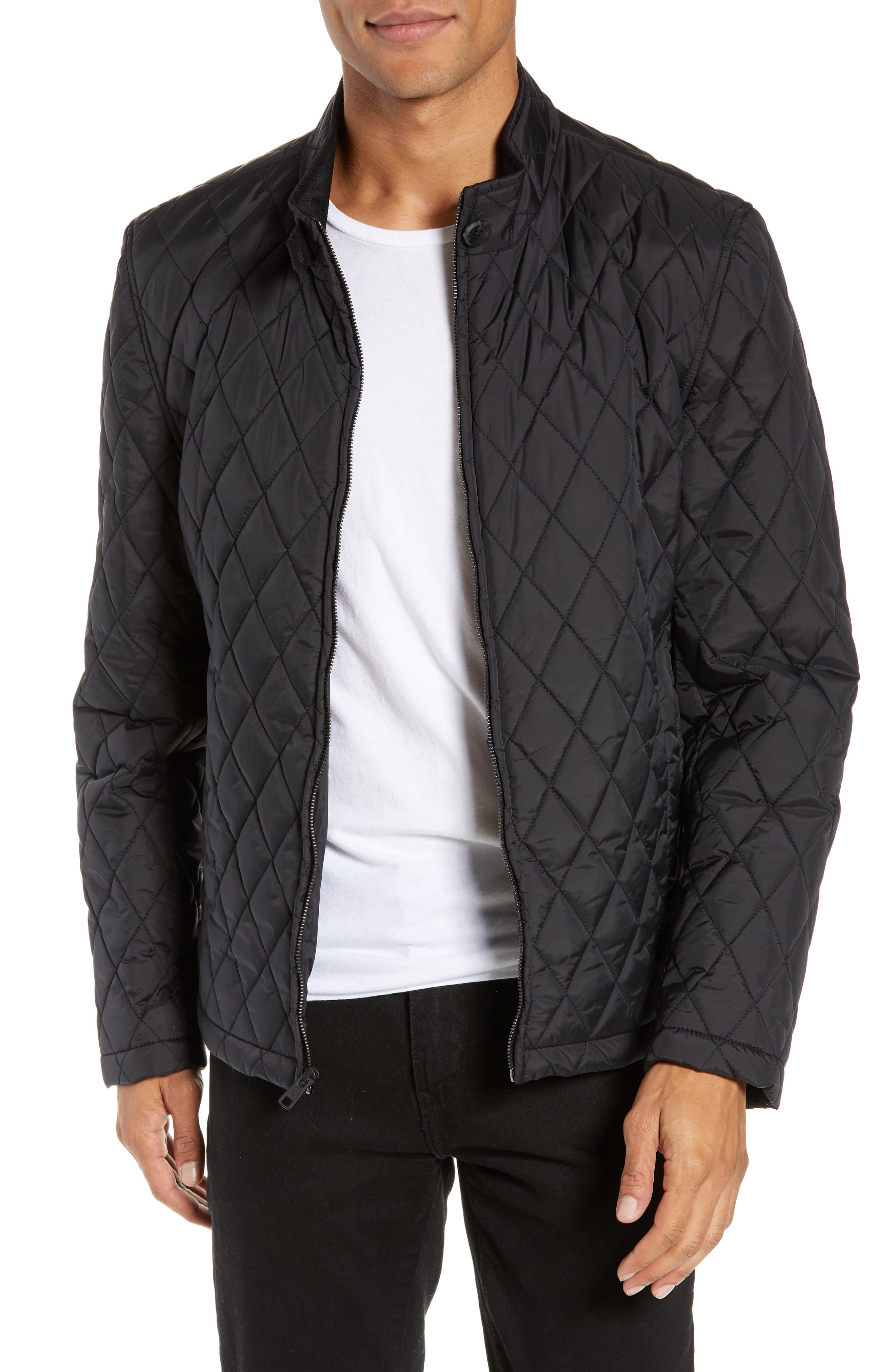 Men S Vince Camuto Quilted Moto Jacket Size Small Black