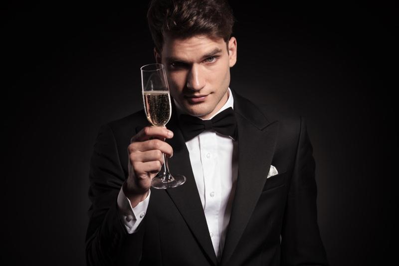 Model Bow Tie Tuxedo Champagne Glass
