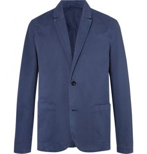 Mr P. - Blue Unstructured Garment-Dyed Peached Cotton-Twill Suit Jacket - Men - Blue