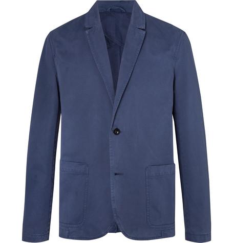 Mr P. - Blue Unstructured Garment-Dyed Peached Cotton-Twill Suit Jacket - Men - Blue