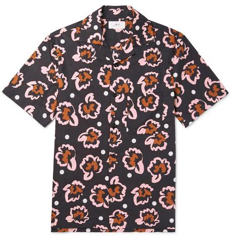 Mr P. - Camp-Collar Printed Cotton-Poplin Shirt - Men - Black