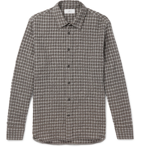 Mr P. - Checked Textured Wool and Cotton-Blend Shirt - Men - Gray