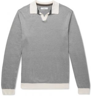 Mr P. - Knitted Cotton-Piqué Polo Shirt - Men - Gray