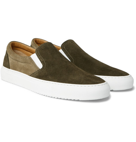 Mr P. - Larry Colour-Block Suede Slip-On Sneakers - Men - Green