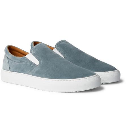 Mr P. - Larry Suede Slip-On Sneakers - Men - Light blue