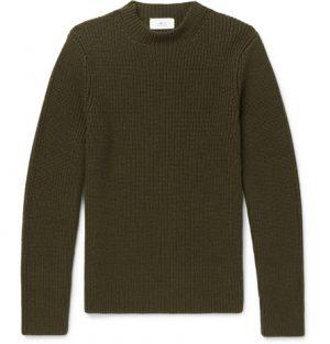Mr P. - Ribbed Merino Wool Sweater - Men - Army green