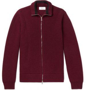 Mr P. - Ribbed Merino Wool Zip-Up Cardigan - Men - Burgundy
