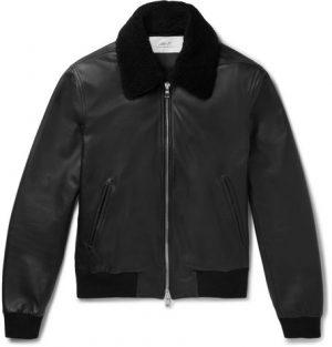 Mr P. - Shearling-Trimmed Leather Aviator Jacket - Men - Black