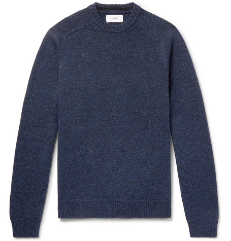 Mr P. - Shetland Virgin Wool Sweater - Men - Navy