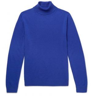 Mr P. - Slim-Fit Merino Wool Rollneck Sweater - Men - Blue