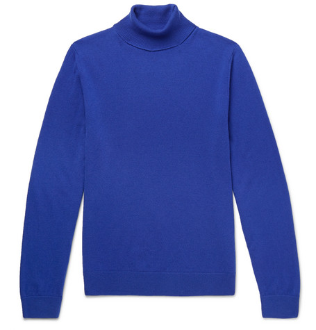 Mr P. - Slim-Fit Merino Wool Rollneck Sweater - Men - Blue