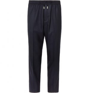 Mr P. - Slim-Fit Midnight-Blue Worsted-Wool Drawstring Trousers - Men - Midnight blue