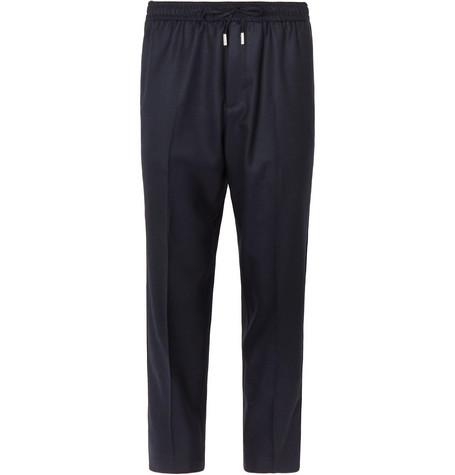 Mr P. - Slim-Fit Midnight-Blue Worsted-Wool Drawstring Trousers - Men - Midnight blue