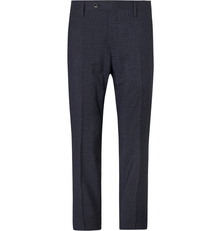Mr P. - Slim-Fit Navy Checked Super 100s Wool-Blend Trousers - Men - Navy