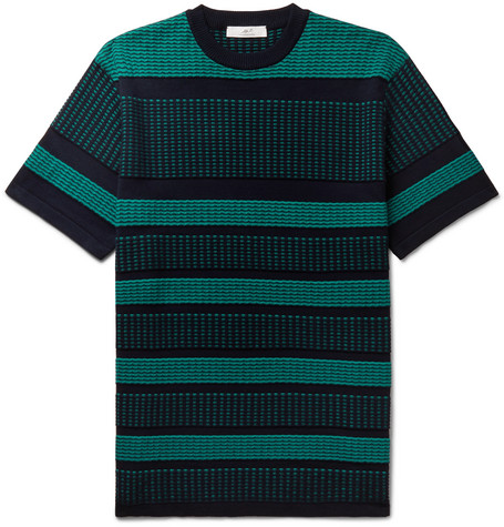 Mr P. - Striped Knitted Cotton T-Shirt - Men - Green