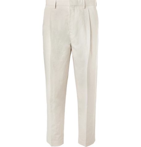 Mr P. - Tapered Pleated Linen and Cotton-Blend Twill Cropped Trousers - Men - Off-white