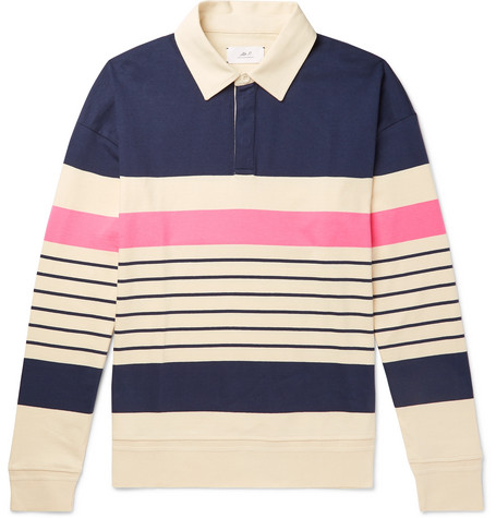 Mr P. - Twill-Trimmed Striped Cotton-Jersey Rugby Shirt - Men - Multi