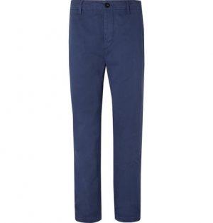 Mr P. - Wide-Leg Blue Garment-Dyed Peached Cotton-Twill Suit Trousers - Men - Blue