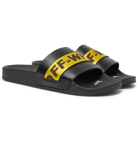 6da4d0b1729 Off-White - Logo Webbing-Trimmed Leather Slides - Men - Black