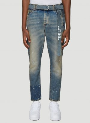Off-White Slim Fit Quote Jeans in Blue size 30