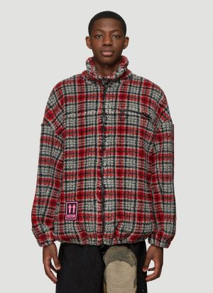 Off-White Textured Check Jacket in Red size M