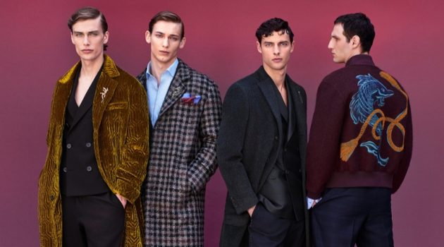 Marc Schulze, Christopher Einla, Hannes Gobeyn, and Nicolas Hodji star in Pal Zileri's fall-winter 2019 campaign.