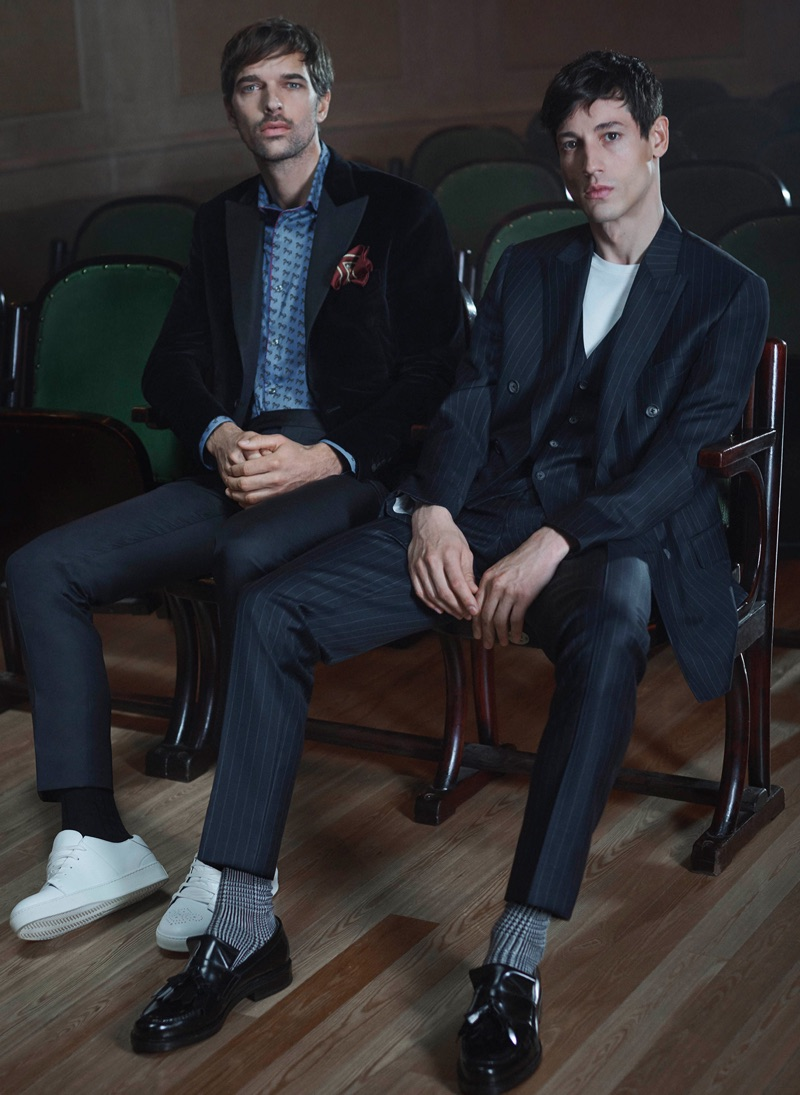 Models Michael Gstoettner and Nicolas Ripoll don fall-winter 2019 fashions from Pal Zileri.