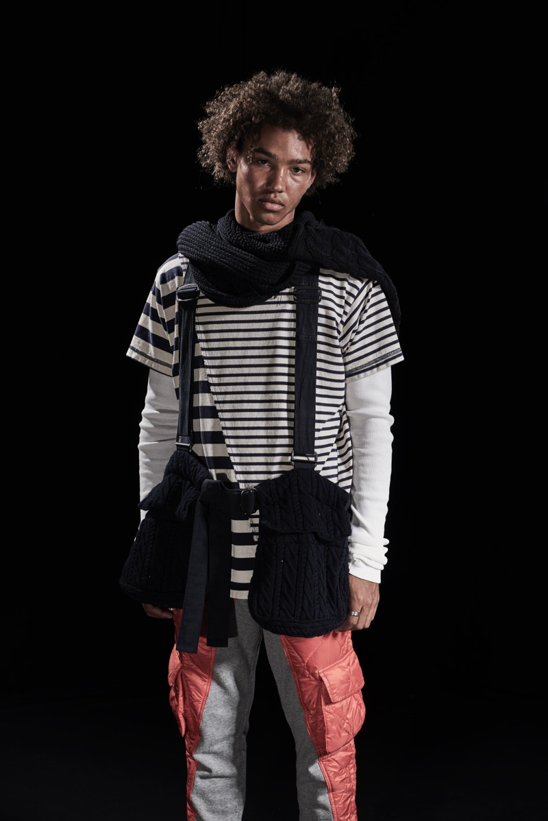 Model Miles Anderson sports a striped shirt and other statement pieces from Paul & Shark by Greg Lauren.