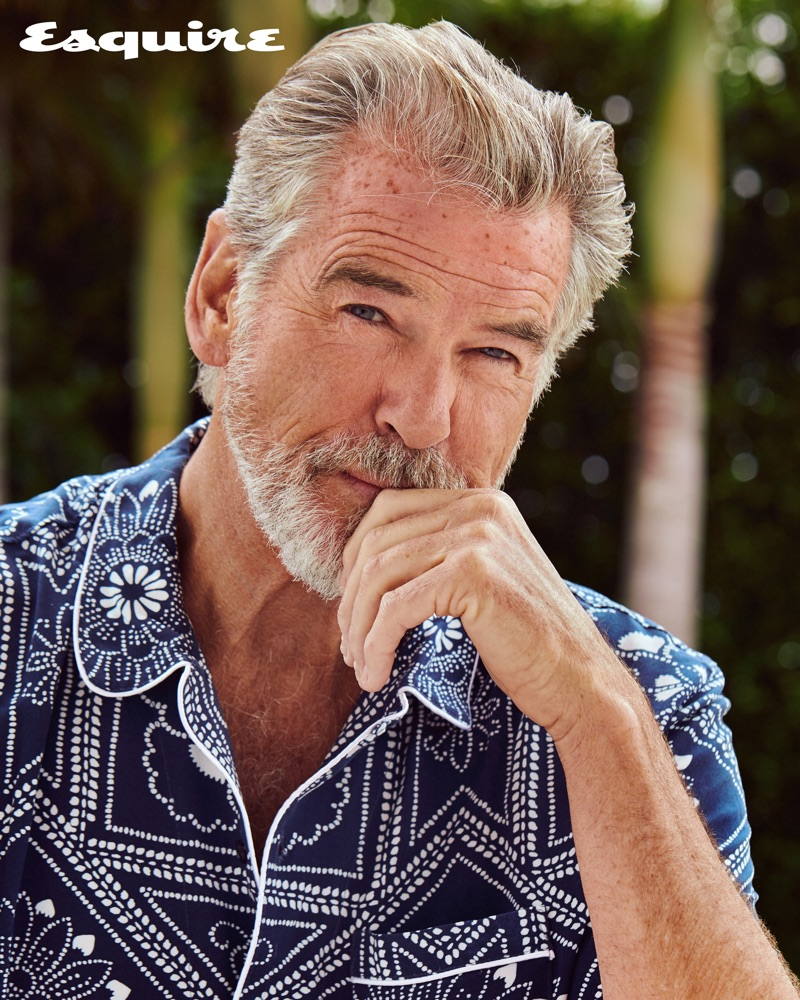 Actor Pierce Brosnan sports a Levi's Made & Crafted shirt.