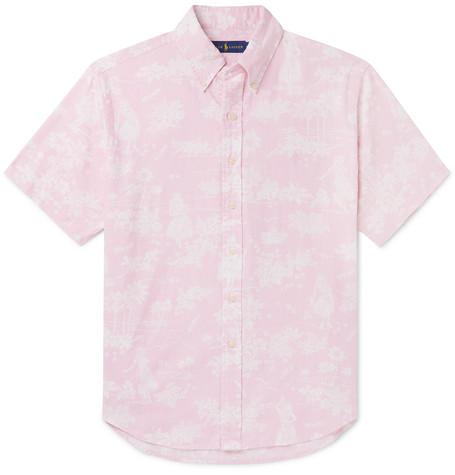 8026957aa1dc Polo Ralph Lauren – Button-Down Collar Printed Linen and Cotton-Blend Shirt  – Men – Pink