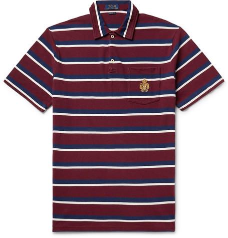 Polo Ralph Lauren - Logo-Embroidered Striped Cotton-Piqué Polo Shirt - Men - Burgundy