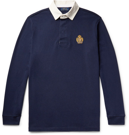 Polo Ralph Lauren - Logo-Embroidered Twill-Trimmed Cotton-Jersey Rugby Shirt - Men - Navy