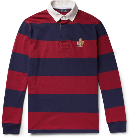Polo Ralph Lauren - Logo-Embroidered Twill-Trimmed Striped Cotton-Jersey Rugby Shirt - Men - Red