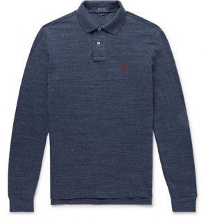 Polo Ralph Lauren - Mélange Cotton-Piqué Polo Shirt - Men - Navy