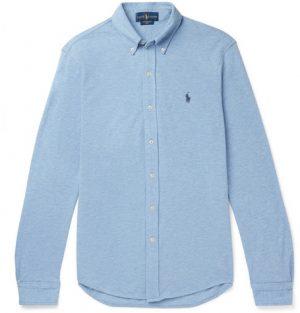 Polo Ralph Lauren - Slim-Fit Button-Down Collar Mélange Cotton-Piqué Shirt - Men - Blue