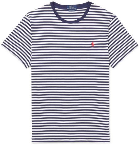 Polo Fit Blue Striped T Jersey Slim Shirt Lauren Men Cotton Ralph ZkiPXuO