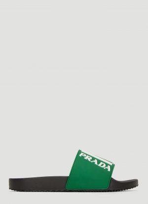 Prada Logo Rubber Slides in Green size UK - 09