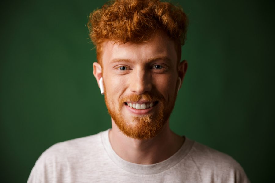Redhead Man Airpods