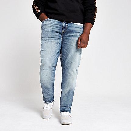 River Island Mens Big and Tall light blue slim fit denim jeans