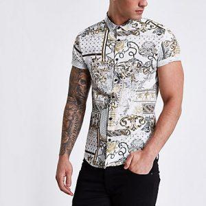 River Island Mens Cream baroque short sleeve slim fit shirt