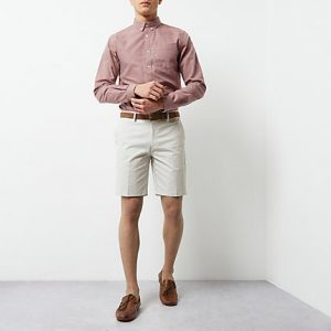River Island Mens Cream belted chino shorts