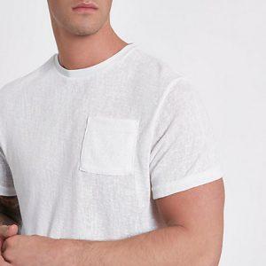 River Island Mens Cream knit slim fit pocket T-shirt